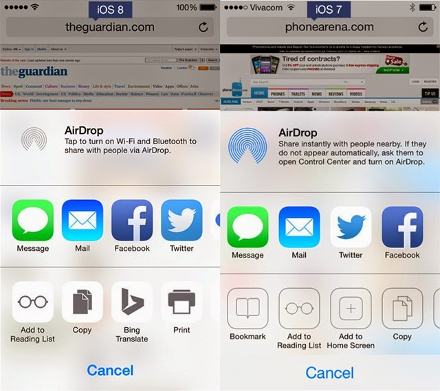 iOS 8 and iOS 7 OS 8 Better sharing menu