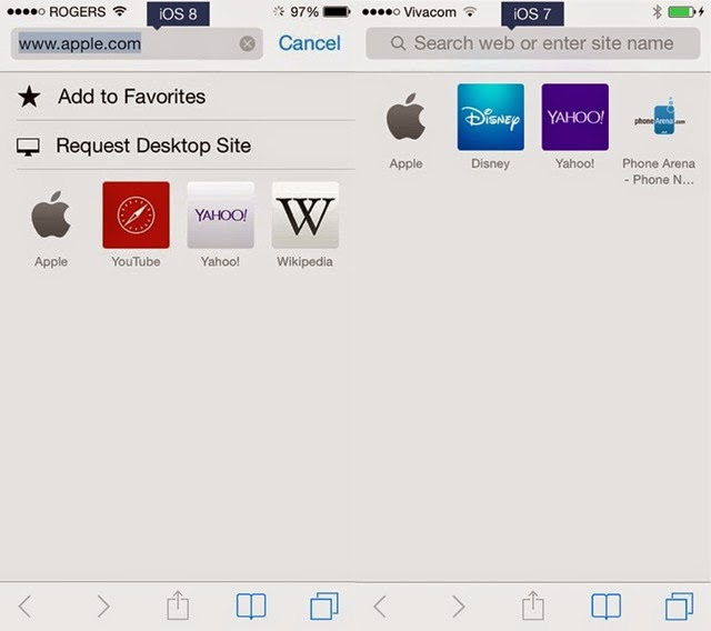 iOS 8 and iOS 7 Request desktop site in Safari