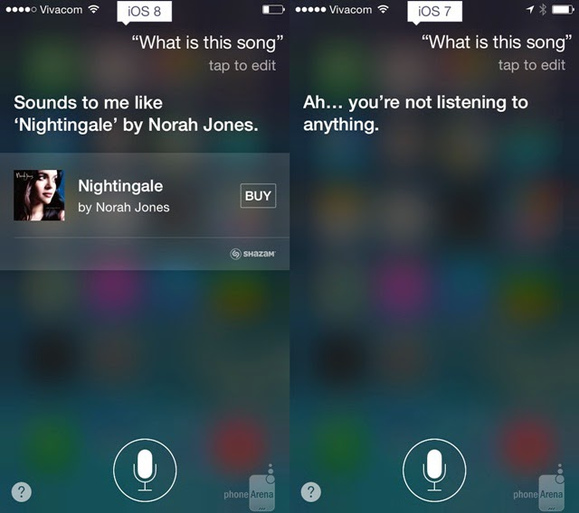 iOS 8 and iOS 7 Siri meets Shazam