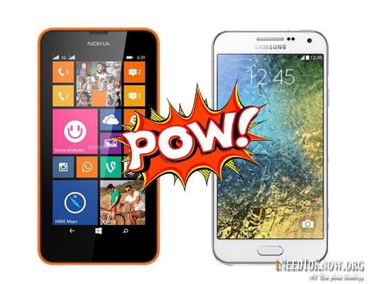 Microsoft-Lumia-532-vs-Galaxy-E5