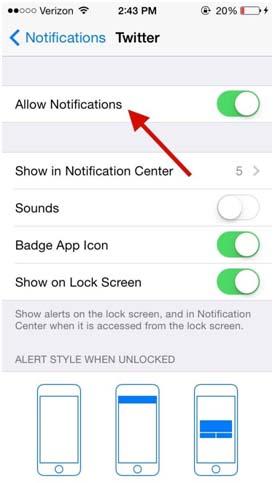 Notifications smartphone